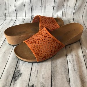 A.GIANNETTI Orange perforated leather slide sandal